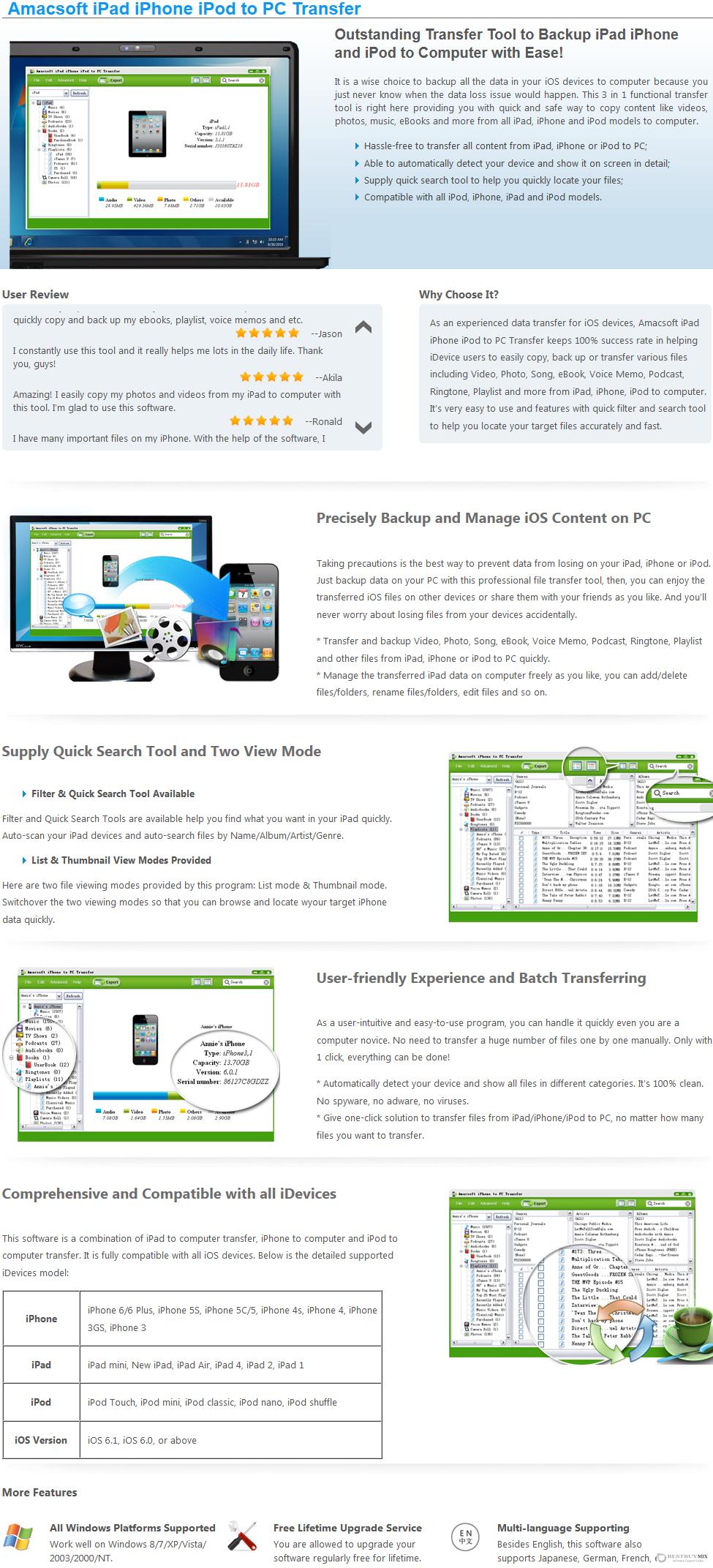 Amacsoft iPad/iPhone/iPod to PC Transfer Discount Coupon Code
