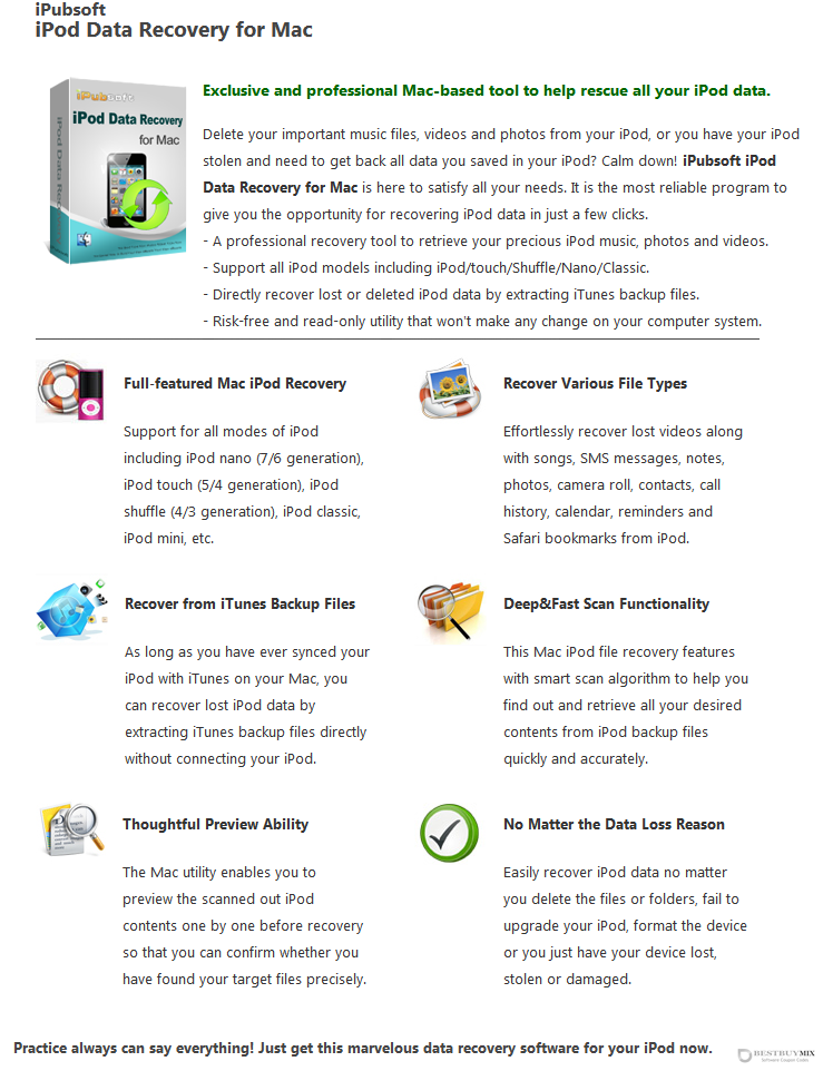 iPubsoft iPod Data Recovery for Mac Discount Coupon Code