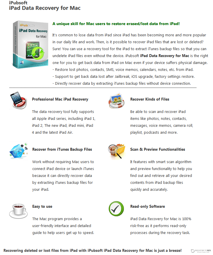 iPubsoft iPad Data Recovery for Mac Discount Coupon Code