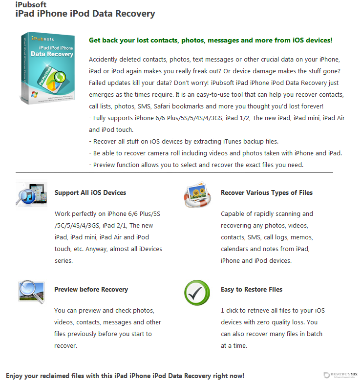 iPubsoft iPad/iPod/iPhone Data Recovery Discount Coupon Code