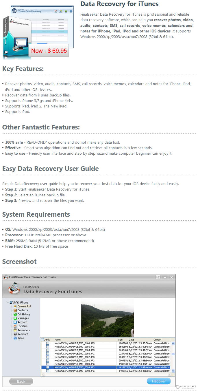 Finalseeker Data Recovery for iTunes